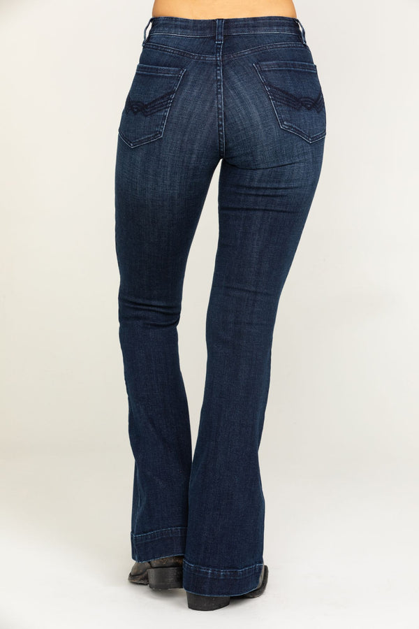 Country Nights High Rise Fit And Flare Jeans - Blue