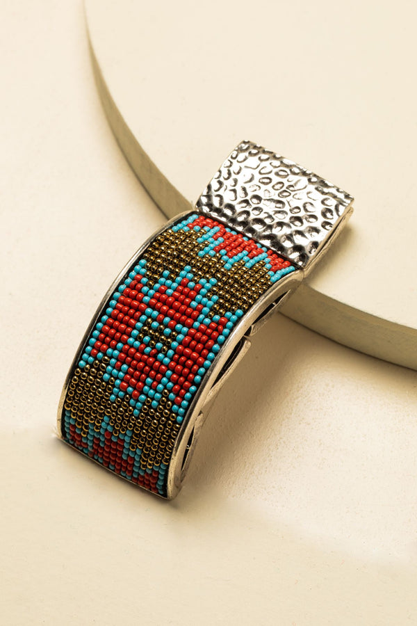 Moondancer Aztec Beaded Bracelet - Silver