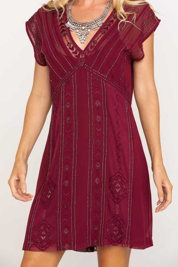 Shine N Sequin Red Dress - Wine