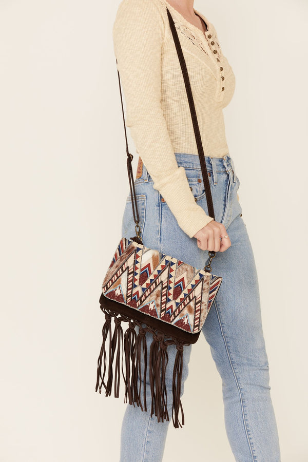 Hang Tight Fringe Crossbody Bag - Brown