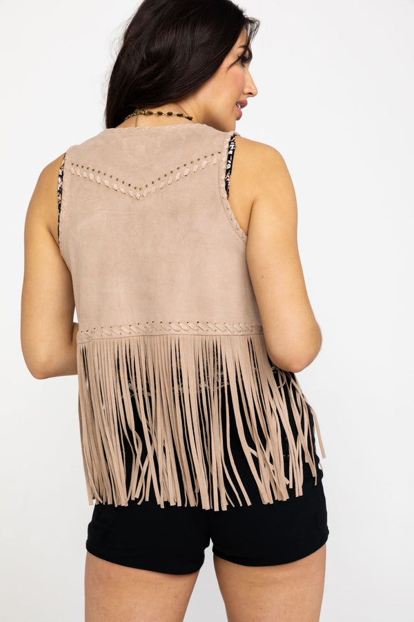 New Strings Fringe Vest - Stone