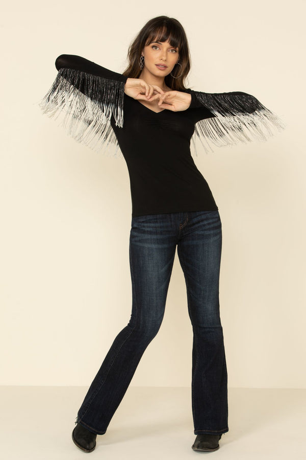 Studded Flying Fringe Top - Black