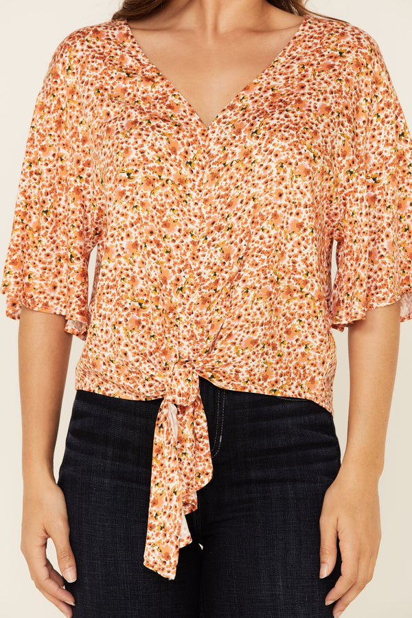 Sunny Days Tie Front Top - Peach