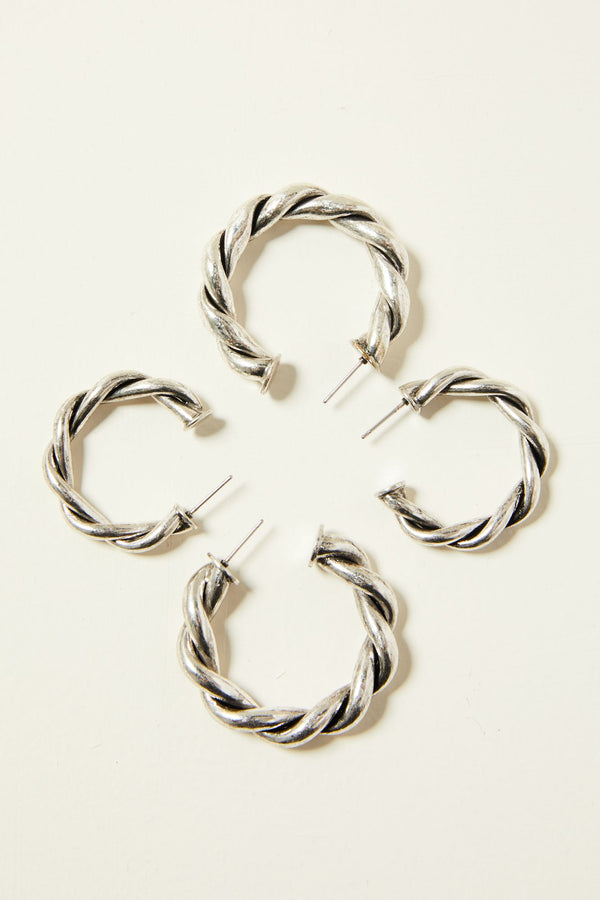 Wanna Roam Hoop Earrings - Silver