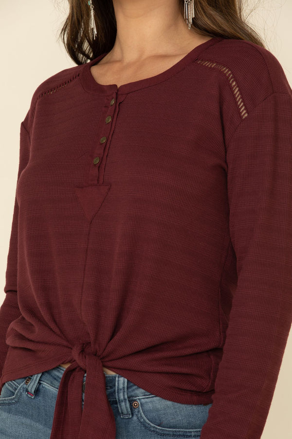 Easy Long Sleeve Tie Henley - Burgundy