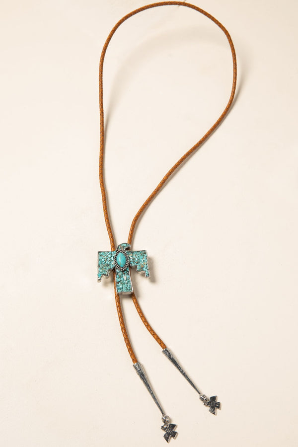 Stick To The Plan Bolo Necklace - Turquoise