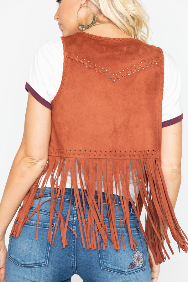 New Strings Fringe Vest - Tan
