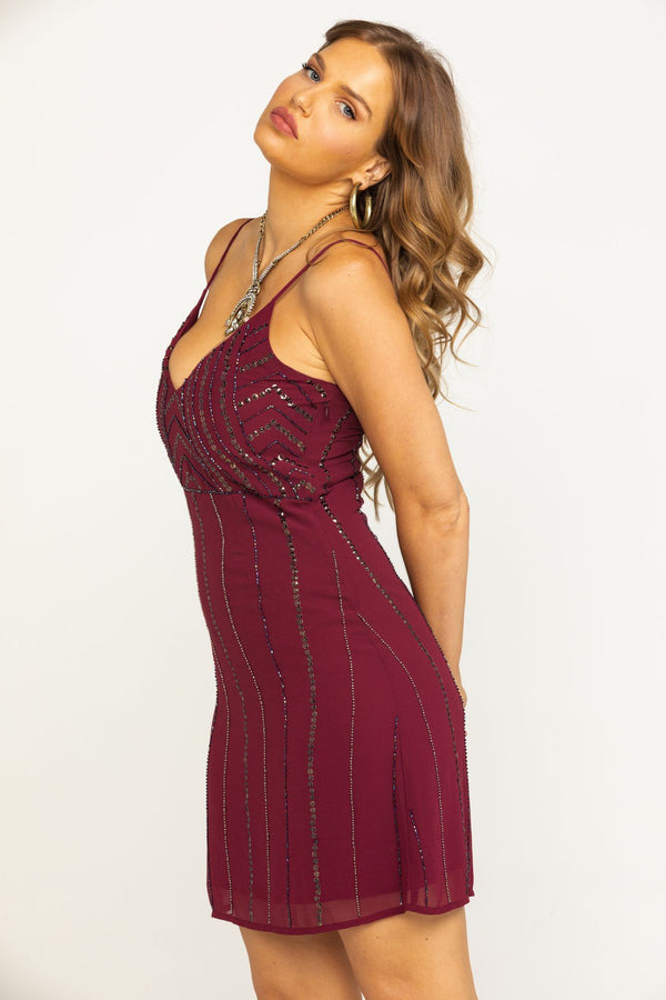 Like What You See Sequin Dress Wine Color - Wine