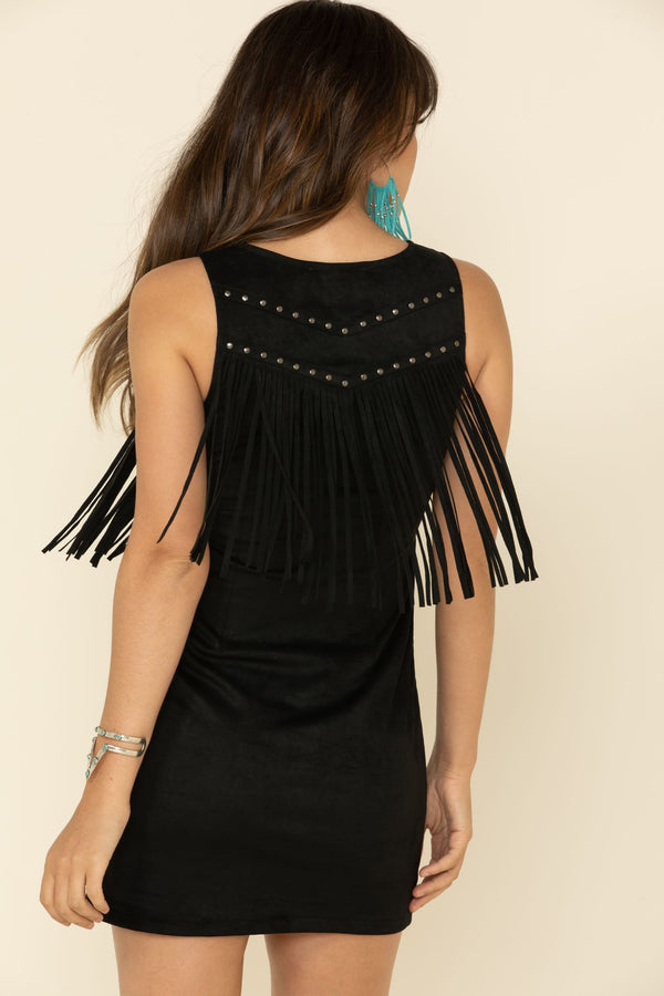 Queen Of Country Fringe Dress - Black