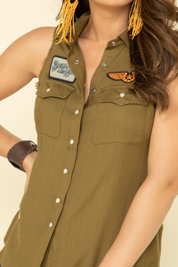 Patches Forever Snap Up Shirt - Olive