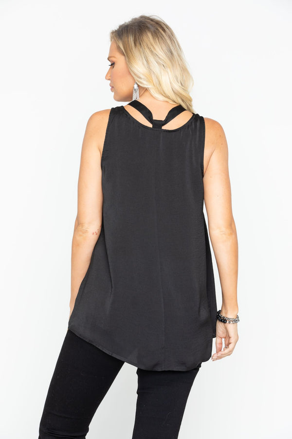 Moonlight Lace Up Tank - Black