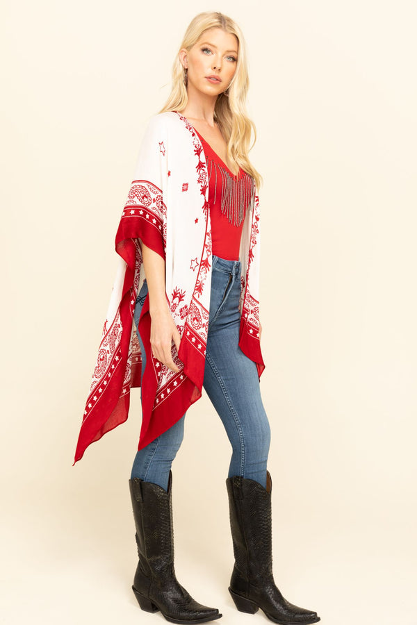 Stars & Bandana Shawl - Red