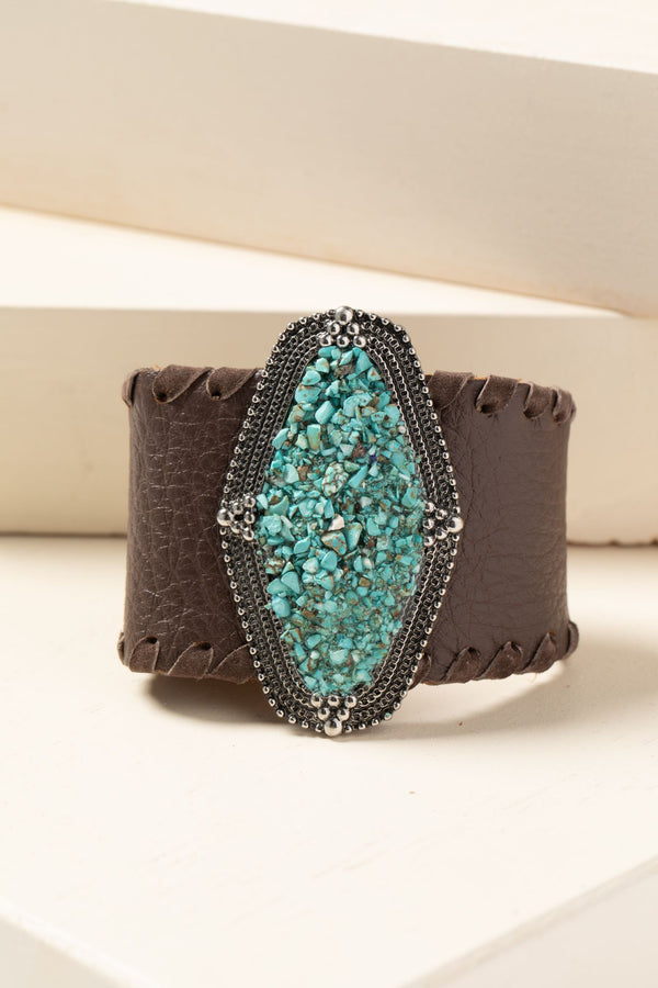 Leather And Gem Cuff Bracelet - Brown