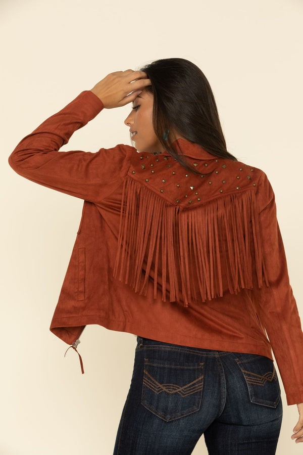 Stargazer Faux Suede Jacket - Rust Copper