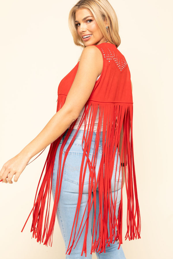 Sway to The Music Studded Fringe Vest - Red