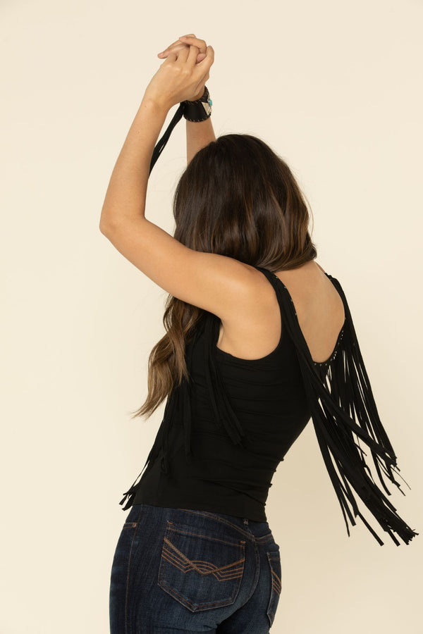 Breaking Hearts Fringe Tank - Black