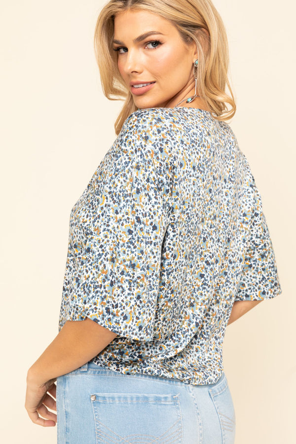 Sunny Days Tie Front Top - Blue