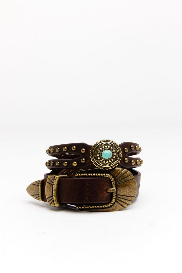 Stay In The Loop Turquoise Belt - Brown