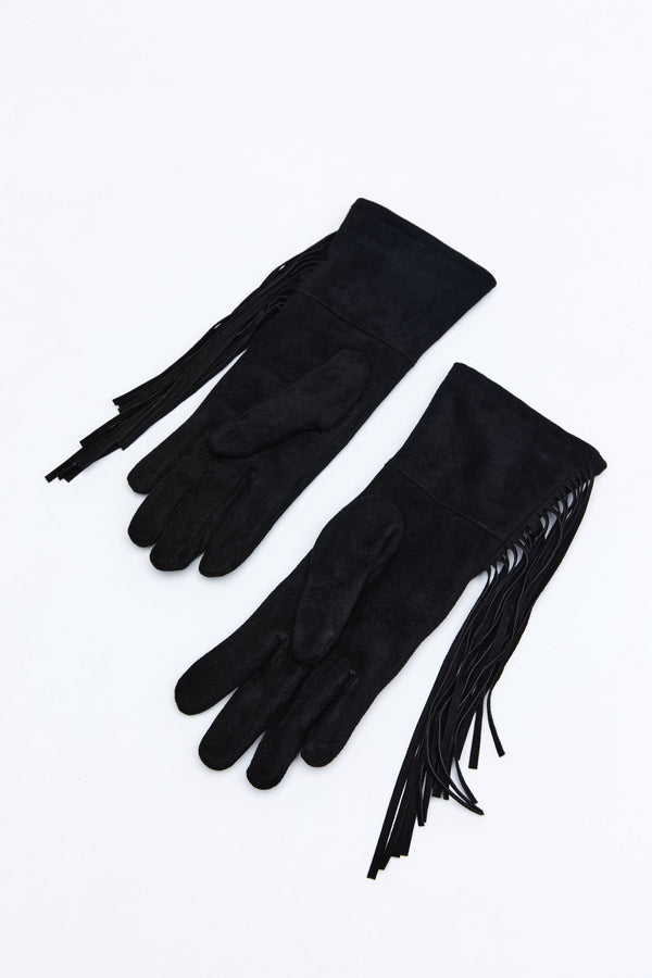 Night Bandit Fringe Gloves - Black