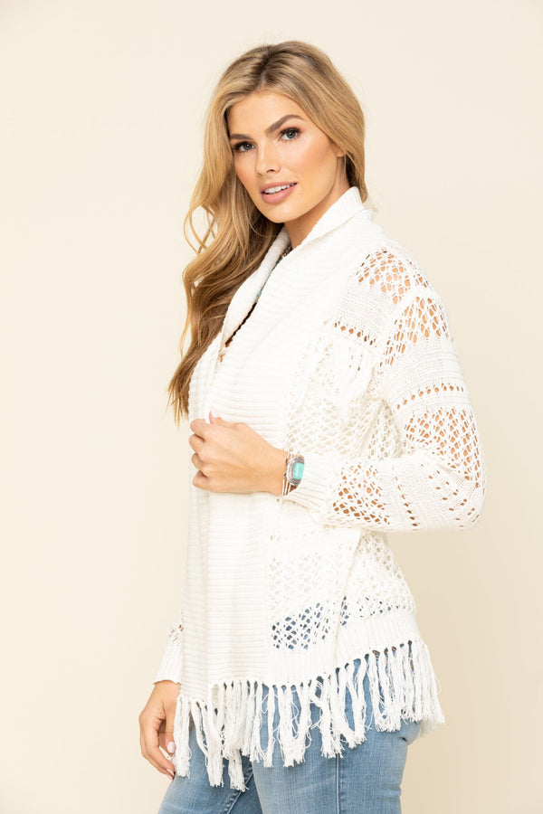 No Chill Fringe Crochet Cardigan Sweater - Cream
