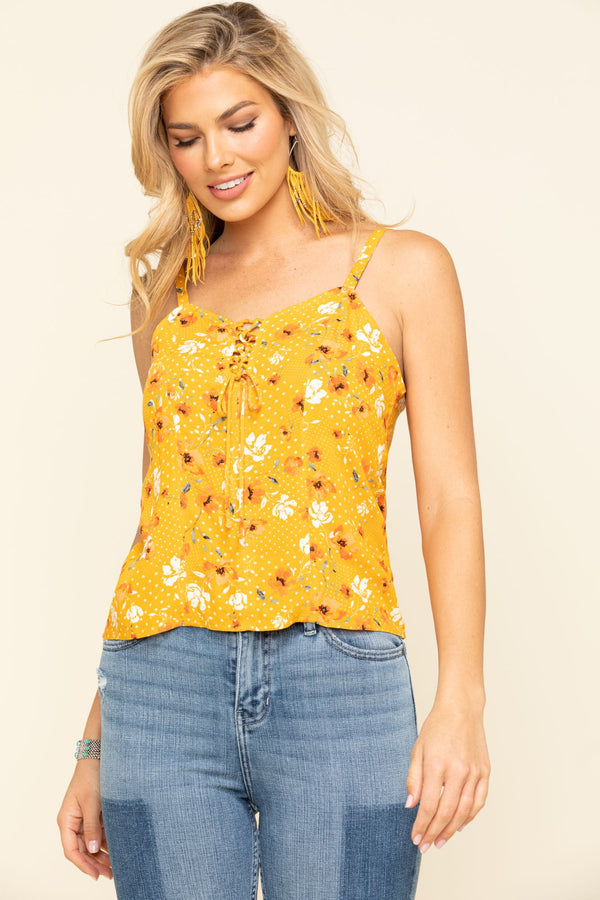 Prairie Ride Lace Up Tank Top - Yellow