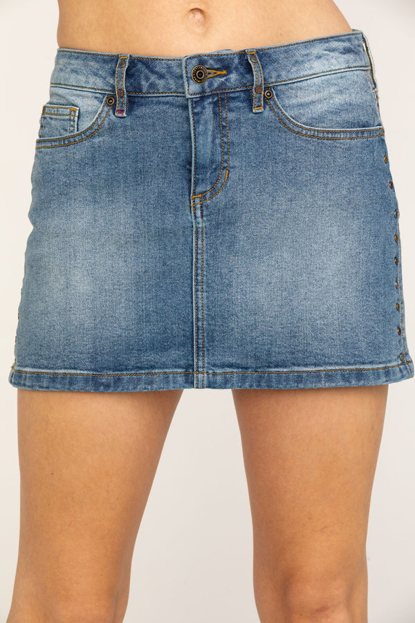 Side Stud Stepper Skirt - Blue