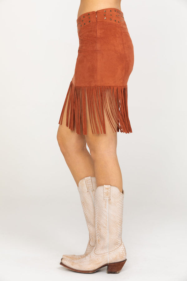 This Is Love Skirt Fringe Skirt - Brown