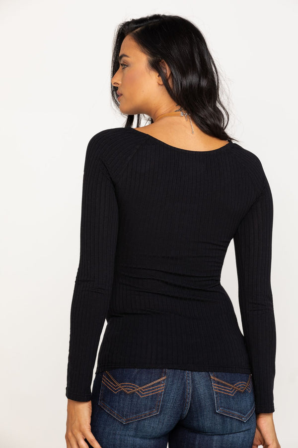 Cozytown Lace Henley - Black