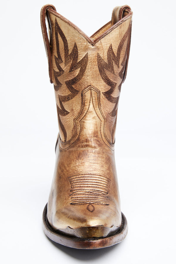 Wheels Gold Western Booties - Snip Toe - Gold