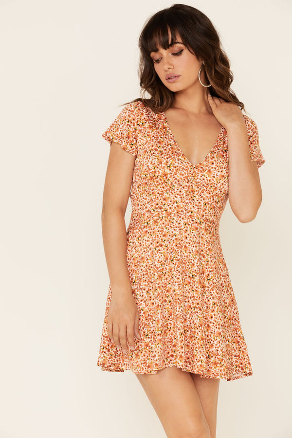 Willow Floral Dress - Peach