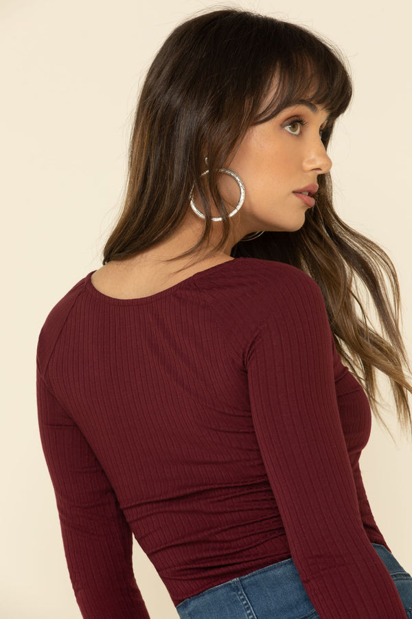 Cozytown Lace Henley - Burgundy