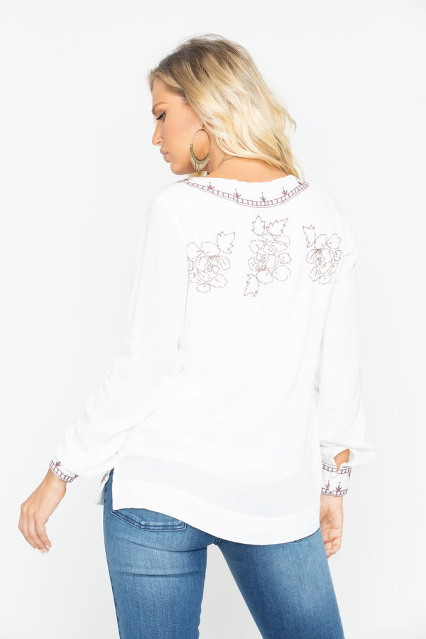 Homegrown Lace Up Tunic Top - Ivory