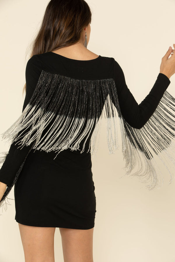 Queen Of Fringe Dress - Black