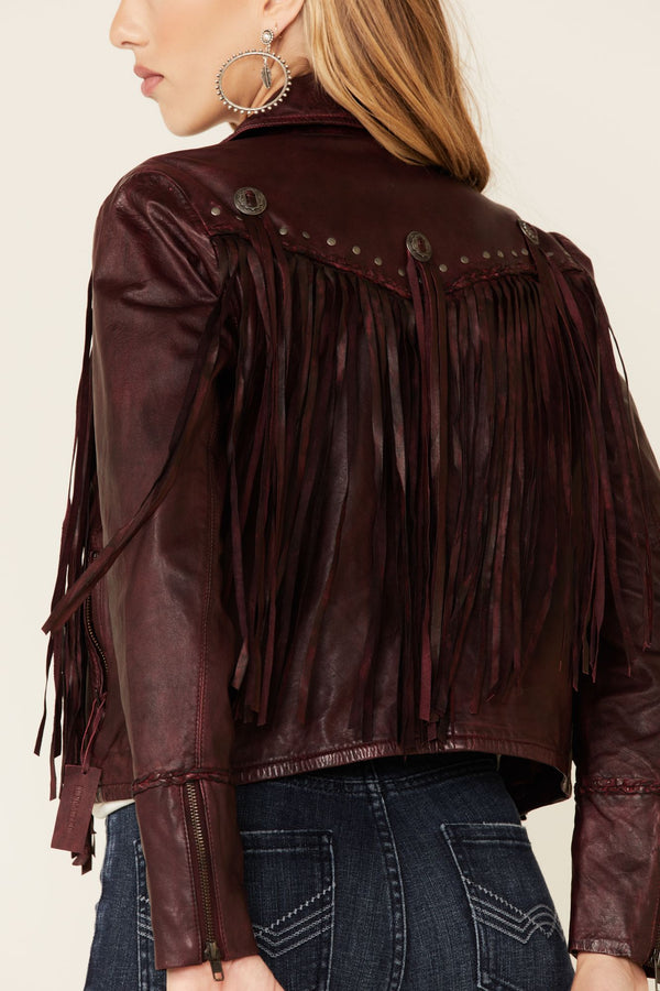 Burgundy Headline Concho Leather Jacket - Burgundy