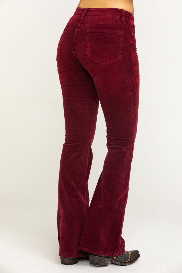Psychedelic Corduroy Bootcut Jeans - Wine