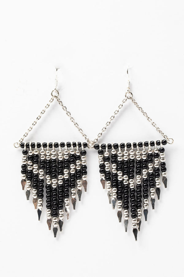 Make Some Moves Beaded Earrings - Black