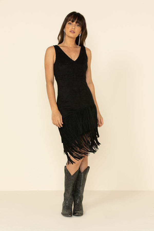 Rocker Fringe Dress - Black