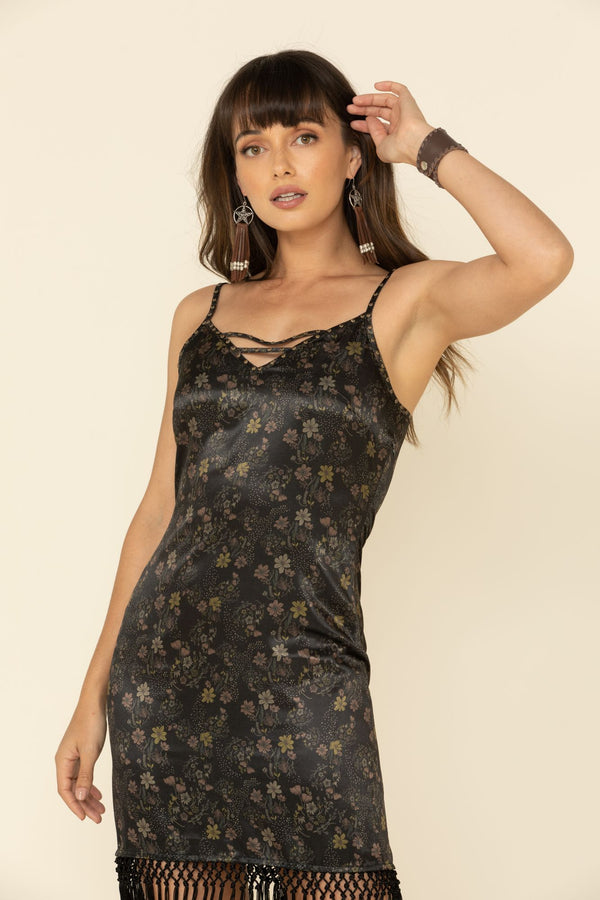 Floral Shimmy Shake Fringe Dress - Black