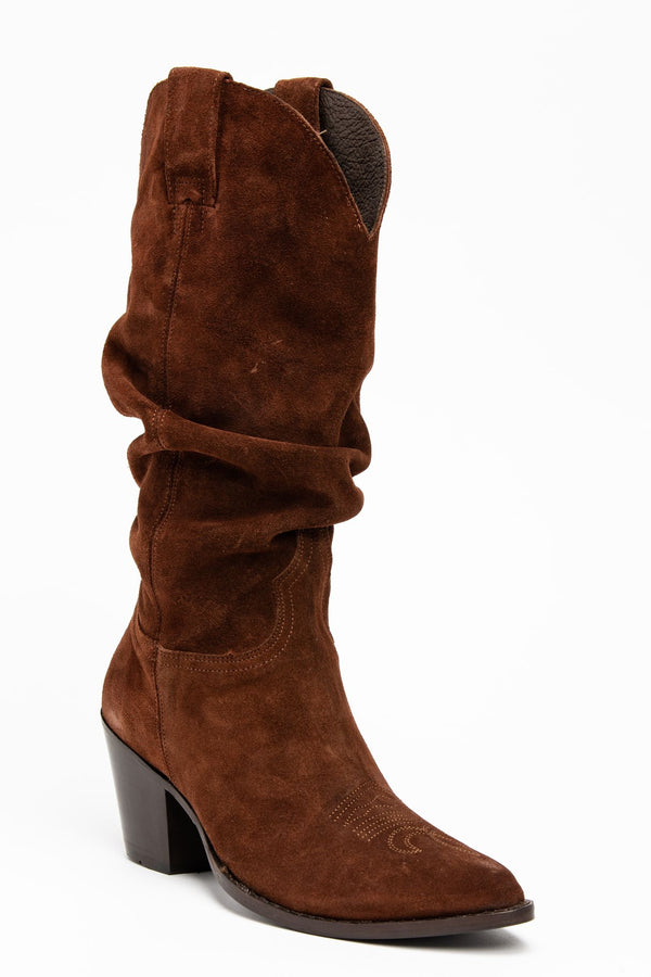 Crush Western Boots - Pointed Toe - Brown