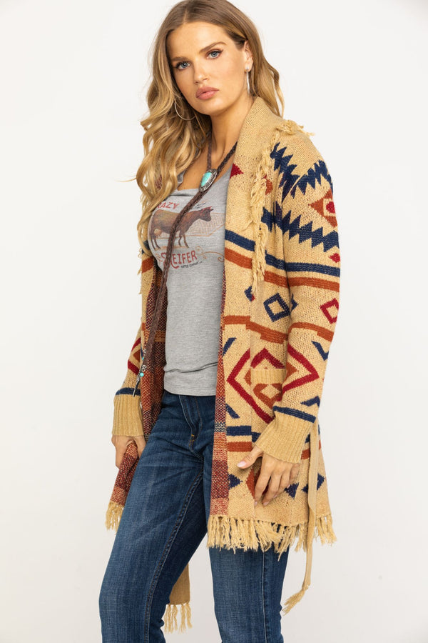 Snuggle Me Fringe Cardigan Sweater - Tan