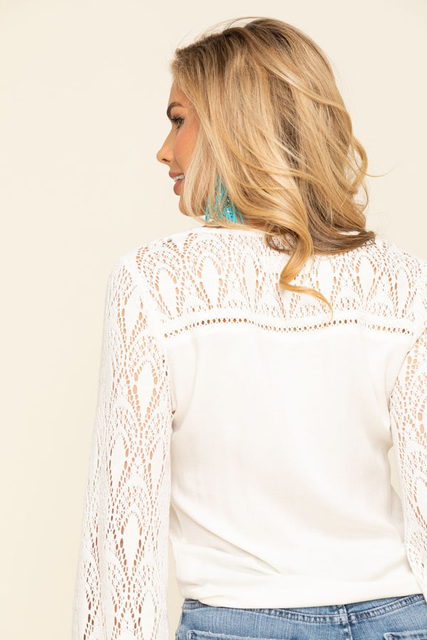 Last Song Tie Front Bell Sleeve Top - Natural