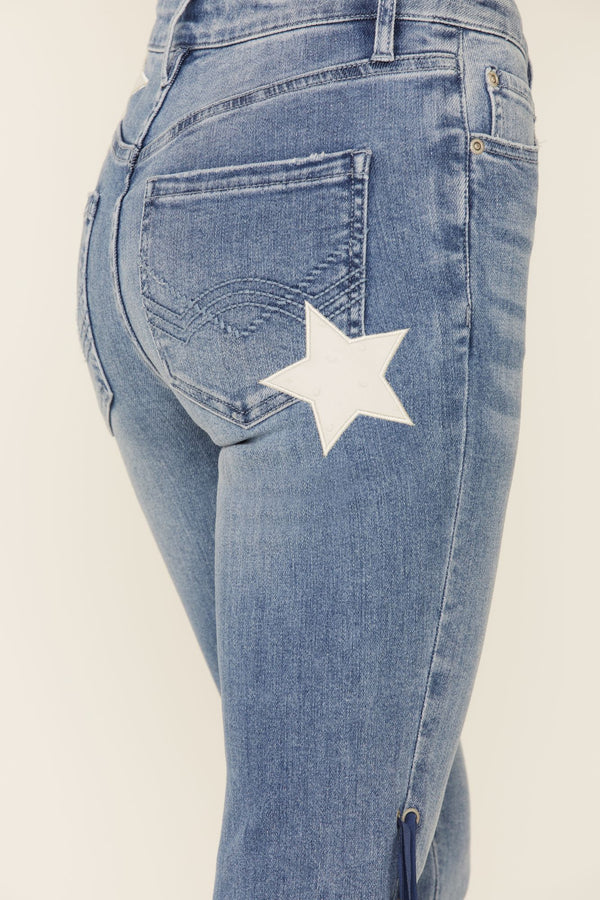 Americana Fringe Super Star Jeans - Medium Blue