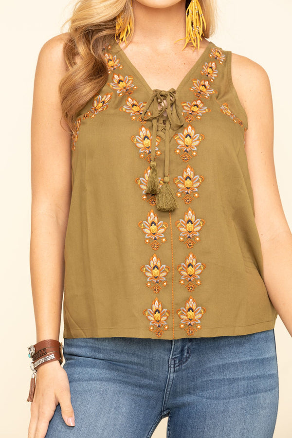 Woodland Embroidered Tank - Olive