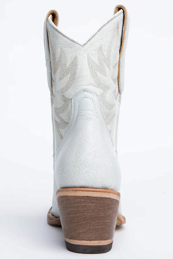 White Wheels Western Booties - Round Toe