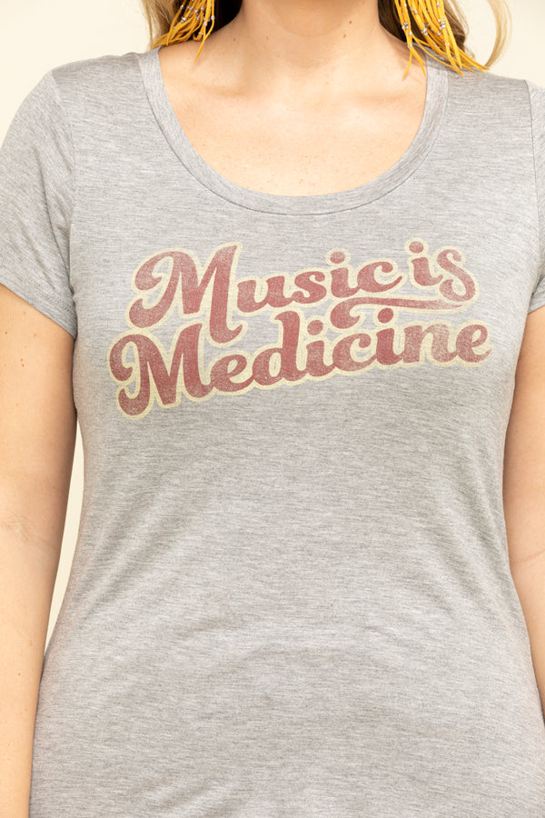 Music Is Medicine Trustie Tee - Heather Grey