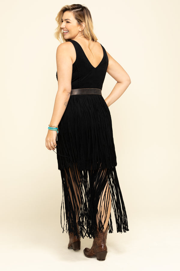 Wild Nights Black Fringe Dress - Black