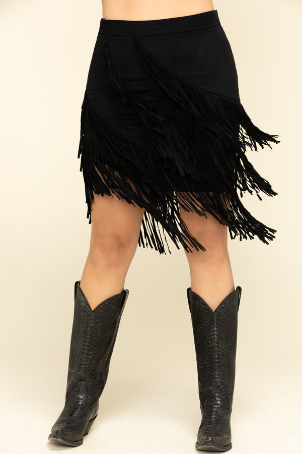 "Spellbound Fringe Skirt - Black- Katie is 5' 9"" and wearing size M"