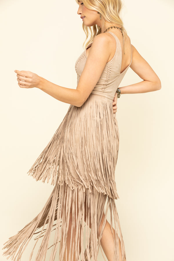 Wild Nights Stone Fringe Dress - Stone