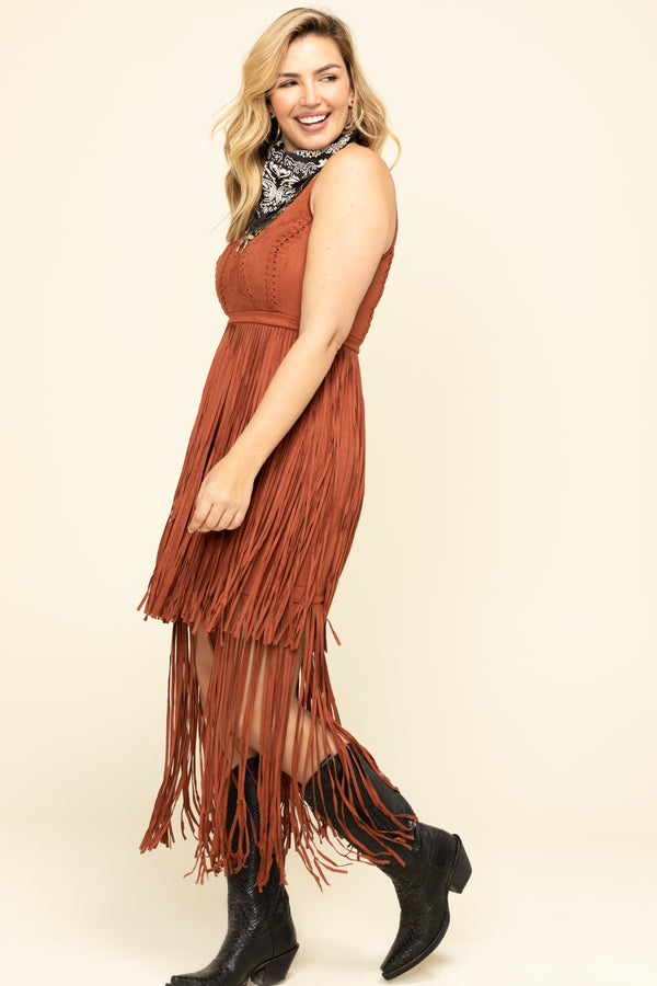 Wild Nights Fringe Dress - Tan