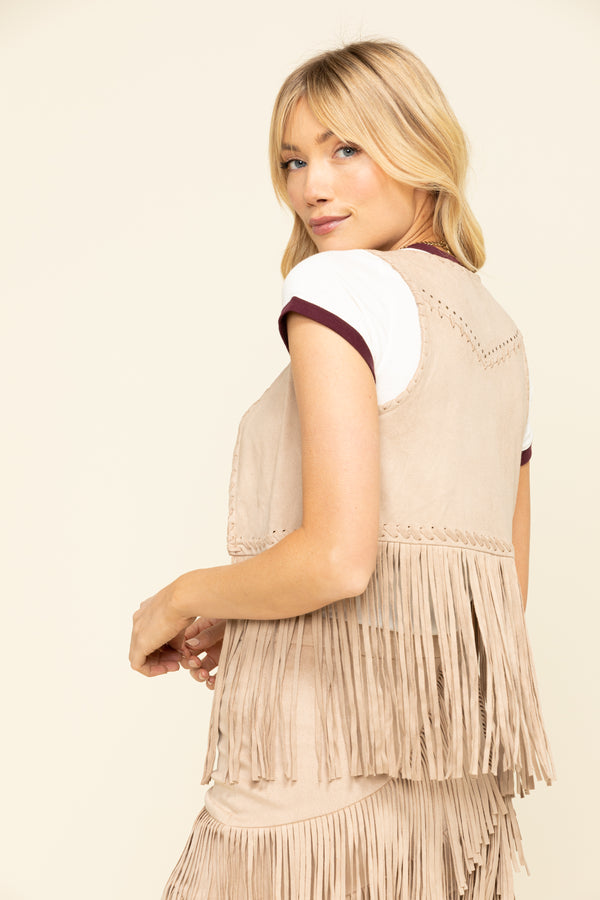 New Strings Fringe Vest - Stone- Alden is 5'9 and wearing a size XS